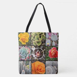 Vivid cacti & roses close-up photo custom monogram tote bag
