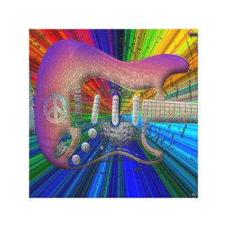 Vivid Colors Peace Guitar Canvas