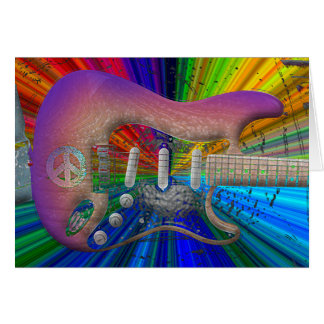 Vivid Colors Peace Guitar Card