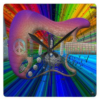 Vivid Colors Peace Guitar Clock