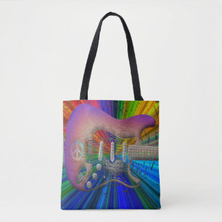Vivid Colors Peace Guitar Full Image Tote