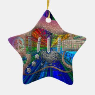 Vivid Colors Peace Guitar - Star Ceramic Ornament