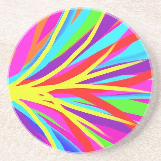 Vivid Colourful Paint Brush Strokes Girly Art Coaster