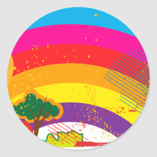 Vivid colourful rainbow landscape classic round sticker