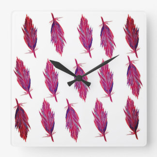 Vivid Colours Feathers Square Wall Clock