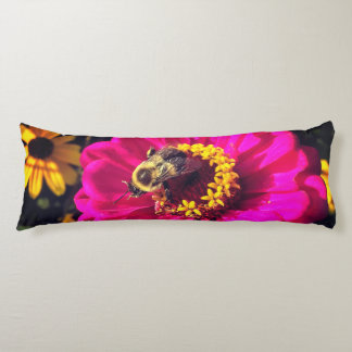 Vivid Flowers with Bee Body Pillow
