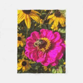 Vivid Flowers with Bee Fleece Blanket