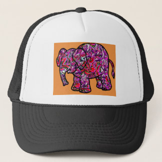 vivid funky graffiti elephant trucker hat