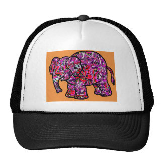 vivid funky graffiti elephant trucker hat