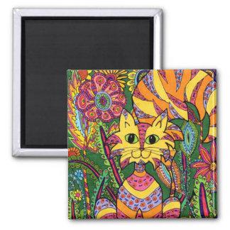 Vivid Garden Cat 2 Square Magnet