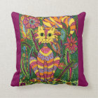 Vivid Garden Cat 2 with Purple Background Throw Pillow