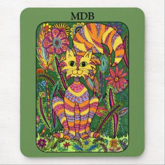 Vivid Garden Cat Green Folk Art Custom Monogram Mouse Pad