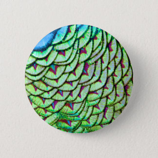 Vivid green breast feathers 2 inch round button