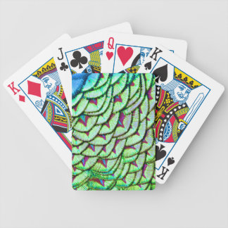 Vivid green breast feathers bicycle playing cards