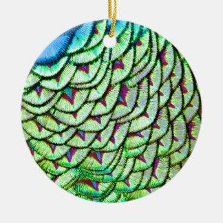 Vivid green breast feathers ceramic ornament