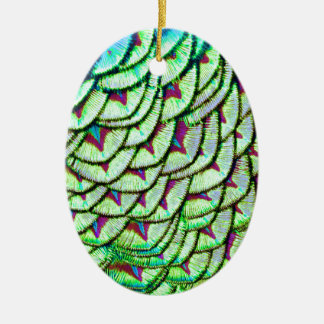 Vivid green breast feathers ceramic oval ornament