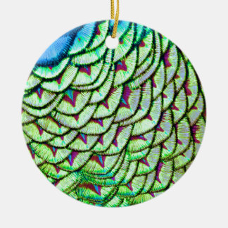 Vivid green breast feathers round ceramic ornament