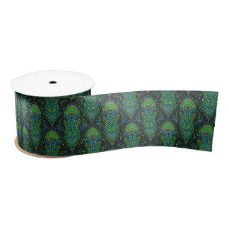 "vivid green peacock 3"" satin ribbon feather print"