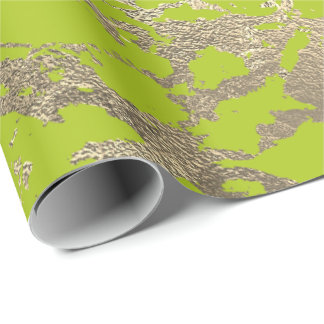Vivid Lime Abstract Foxier Gold Marble Shiny Glam Wrapping Paper