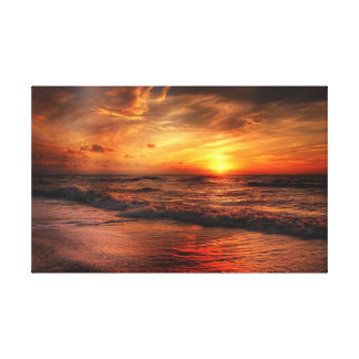 Vivid Orange Beach Sunset Canvas