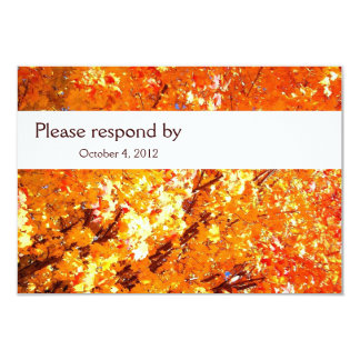 Vivid Orange Fall Leaves RSVP with envelope Card