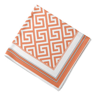 Vivid Orange Sherbet Celtic Key Pattern Bandana