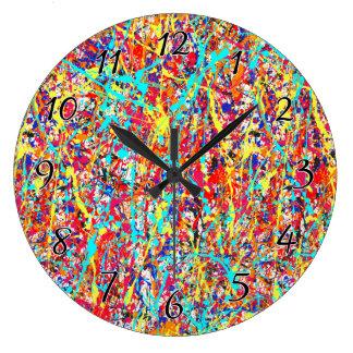 Vivid Paint Splatter Abstract Large Clock