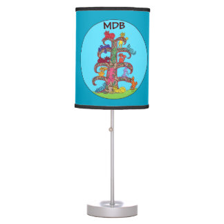Vivid Paisley Cat Tree of Life Custom Monogram Table Lamp