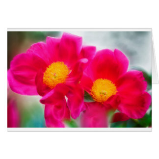 Vivid Peony Flower Duo Card
