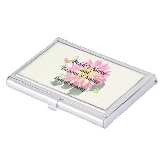 Vivid Pink And Yellow Dahlia Business Card Holder