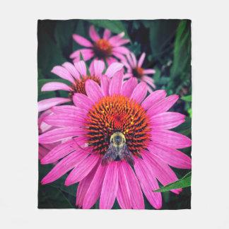 Vivid Pink Flowers with Bee Fleece Blanket