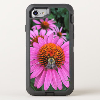 Vivid Pink Flowers with Bee OtterBox Defender iPhone 8/7 Case