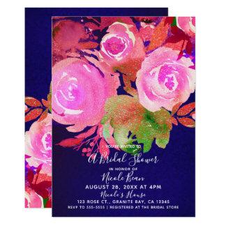 Vivid Purple Modern Spring Floral Bridal Shower Card