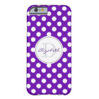 Vivid Purple Polka Dot Monogrammed iPhone 6 Case