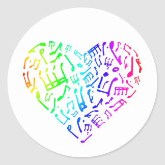 Vivid Rainbow Music Notes Heart Sticker
