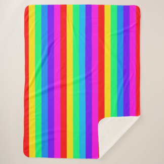 Vivid Rainbow Stripes Sherpa Blanket