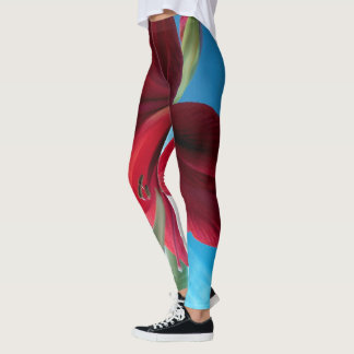 Vivid red Amaryllis Flower, blue background WOW Leggings