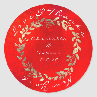 Vivid Red Gold Champaign Wedding Thanks Metallic Classic Round Sticker