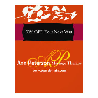 Vivid Red Pretty Gingko Bold Monogram Flyer