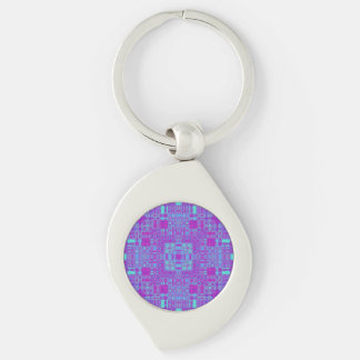Vivid Squares Silver-Colored Swirl Keychain