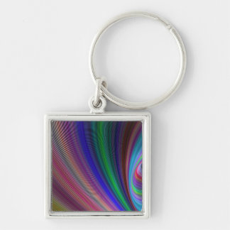 Vivid storm Silver-Colored square keychain