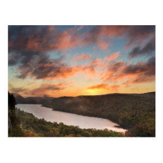 Vivid Sunrise Over Lake Of The Clouds In Autumn Postcard