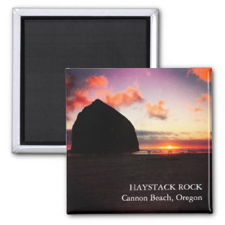 Vivid Sunset Haystack Rock Oregon 2 inch Magnet