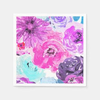 Vivid Violet Bold Floral Flowers Pink Purple Chic Disposable Napkin