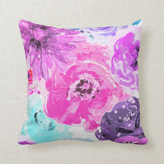 Vivid Violet Bold Floral Flowers Pink Purple Chic Throw Pillow