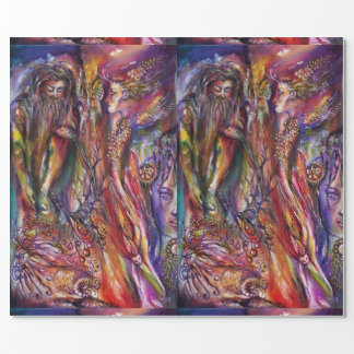 VIVIEN AND MERLIN Pink Purple Blue Fantasy Wrapping Paper