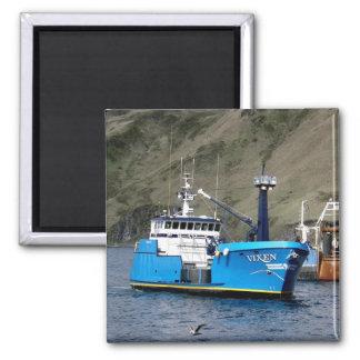 Vixen, Crab Boat in Dutch Harbor, Alaska Square Magnet