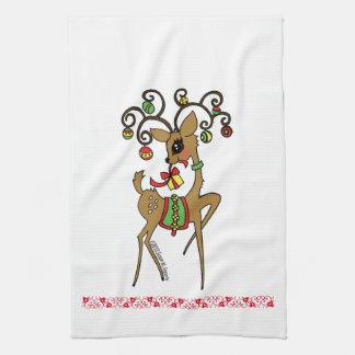 """""""Vixen"""" Cute Anime Reindeer Kitchen Towel"""
