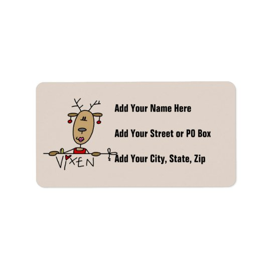 Vixen Reindeer Christmas Tshirts and Gifts Label