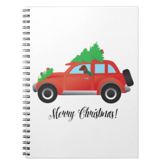 Vizsla Dog Driving a Christmas Car Spiral Note Books